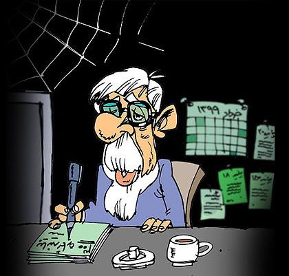 کاریکاتوری از نیک اهنگ کوثر در مشی میر حسین موسوی